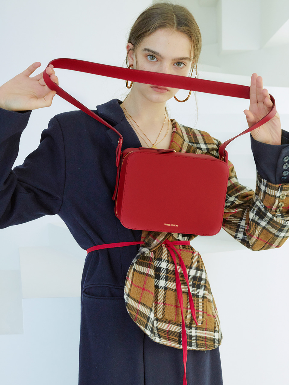 BELTED 3WAY BAG_red